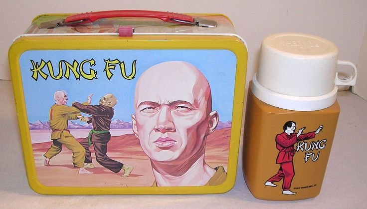 Kung Fu Lunch Box & Thermos (Vintage 1974 Metal Lunchbox, David Carradine, Antique Lunchboxes)