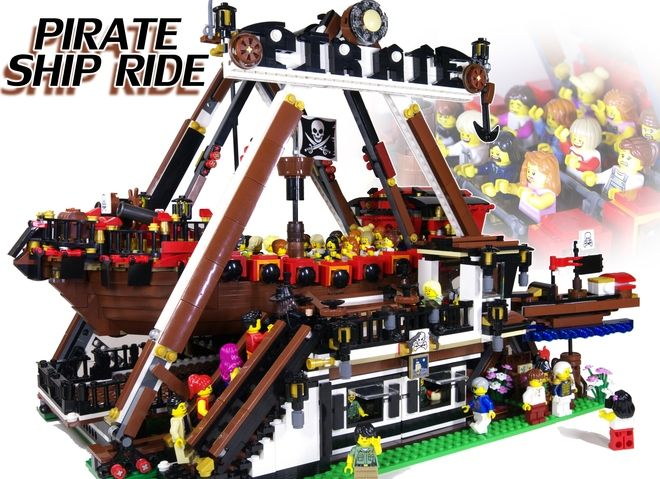 ~Pirate Ship Ride~ Welcome to my project! You are about to see a Motorized Swinging Pirate Ship Ride with the LEGO Power Functions 8883 medium motor and 88000 AAA battery box....