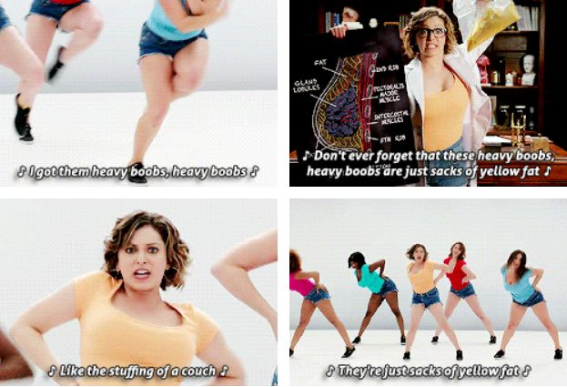 """The fact that Rachel Bloom is a brilliant feminist means the show is full of brilliantly feminist moments, like this desexualization of breasts.   19 Reasons You Really Need To Watch """"Crazy Ex-Girlfriend"""""""