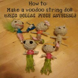 I made these voodoo dolls using dollar store materials. Each one took about 10 minutes to make. The costumes took extra time. My husband brought...