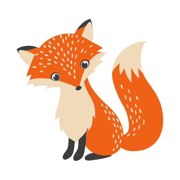 Cute Red Fox Cartoon Illustration - R... | TeePublic