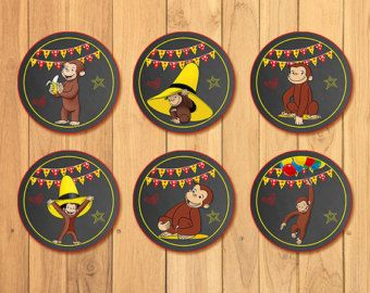 Curious George Party Tags Chalkboard Curious by SometimesPie