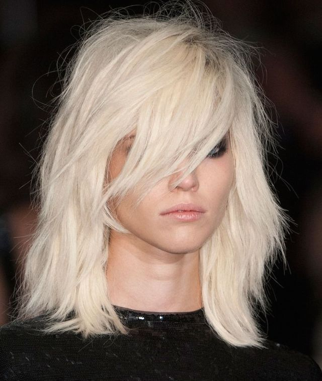 Rocker chic - lob hair - long bob cut - platinum white hair - Tom Ford fashion show 2015