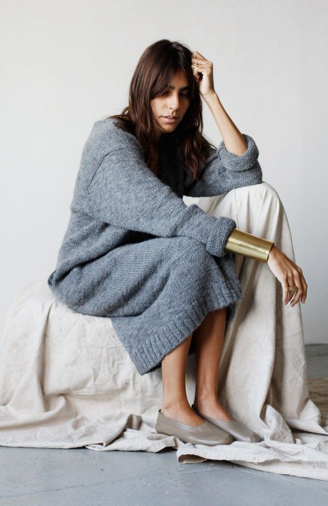 Lauren Manoogian | oversized knit dress, gold cuff & flats #style #fashion ||