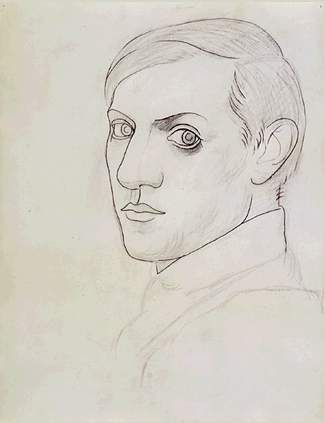 "expressionism-art: "" Self-Portrait by Pablo Picasso Size: 64x49.5 cm Medium: pencil on paper"""