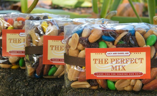 @Kristie Trail mix wedding favors (we would do it in your colors of course) as a nod to y'alls camping craziness