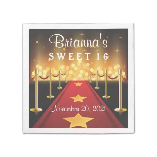 Red Carpet Hollywood Sweet 16 Personalized Napkin