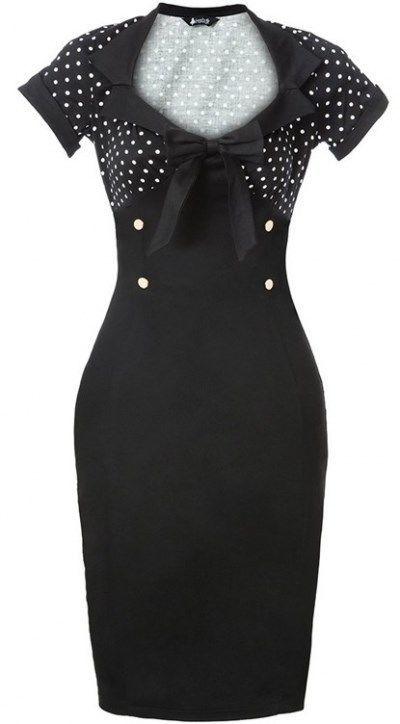 Vintage Style Rockabilly Dress black polka dot pinup swing retro 50's pencil XL