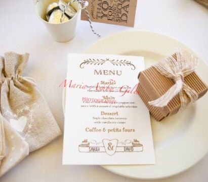 Brown and cream wedding stationery and favours with that rustic feel - great for a country wedding.