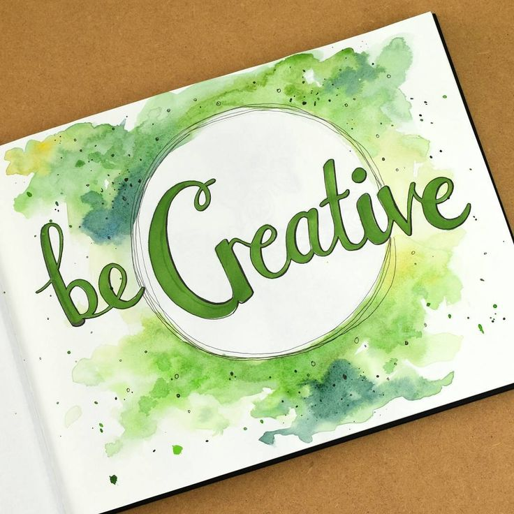 'Be Creative'. The first page of a new sketchbook - watercolours, fine liner pens and BrushMarker pen. I'm planning to use this sketchbook to do more drawing and painting for fun (not just for work!), to practise working on different subjects and experimenting with materials more.  #sketchbook #becreative #watercolor #watercolours #fineliner #drawingpen #drawing #handlettering #brushmarker #green #newsketchbook #creative #doitfortheprocess #artistsofinstagram Hazel Fisher Creations