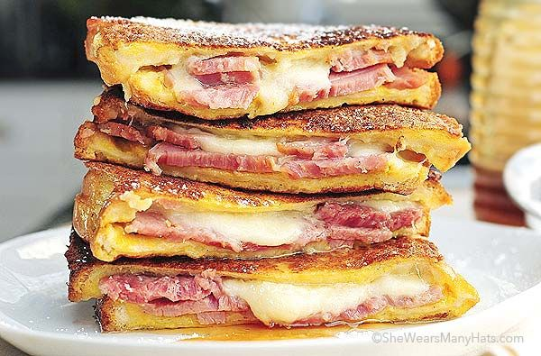 Monte Cristo Sandwich-- oh yeah. this was awesome. we used swiss and cheddar and it was super with the blackberry jam.