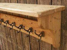 Handgemachte Massiv Holz Kleiderablage mit Regal, Garderobe. Rustikal Kiefer