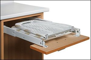 Drawer-Mount Folding Ironing Board. Good place to keep your ironing board - in a drawer!