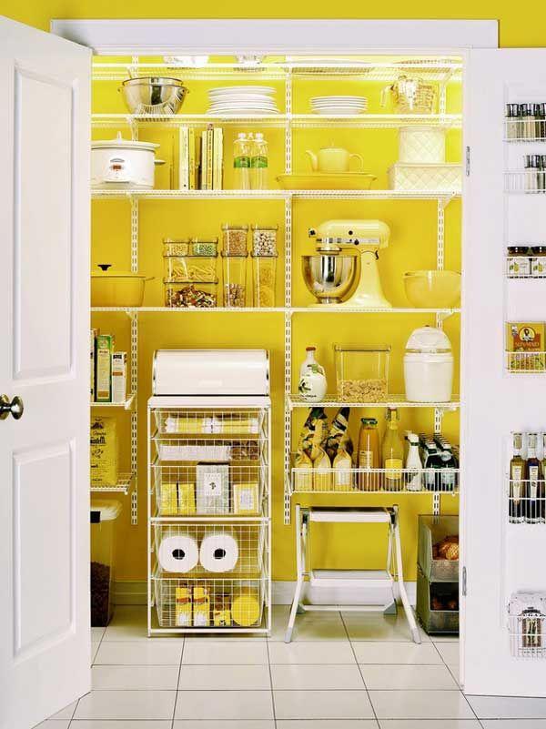 Yellow kitchen storage pantry.