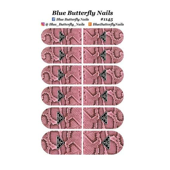 1145 – Designer Inspired Pink Snake Skin Background Nail Water Decal Stickers Slider Transfer Tattoo