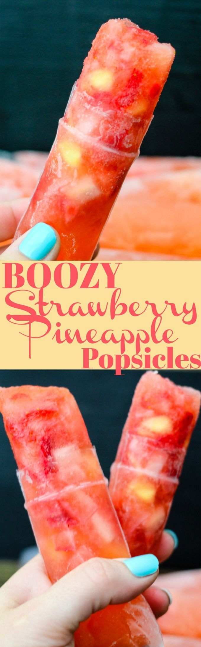 BOOZY Strawberry Pineapple Popsicles are full of fresh ingredients and a kick of rum. Why make traditional cocktails when you can have fun adult popsicles?!
