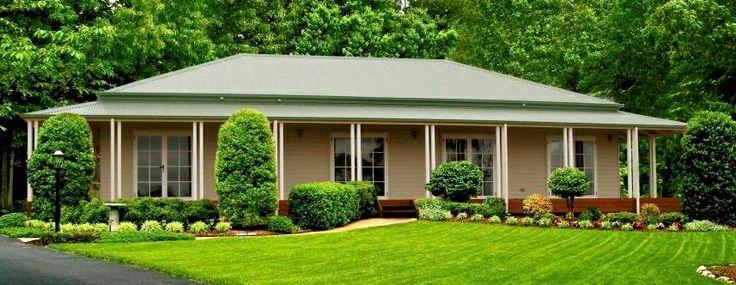 Simple roof line with veranda.