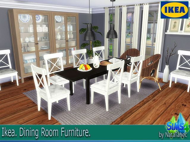 "Sims 4 CC's - The Best: IKEA Dining Room Furniture by Corporation ""SimsStr... A dining room furniture are mostly found in an area or a room where food is consumed. It is usually adjacent to the kitchen for convenience in serving food. Also the dining room is furnished with a rather large dining table and a number of dining chairs; with a common rectangular shape with two armed end chairs and an even number of un-armed side chairs…"