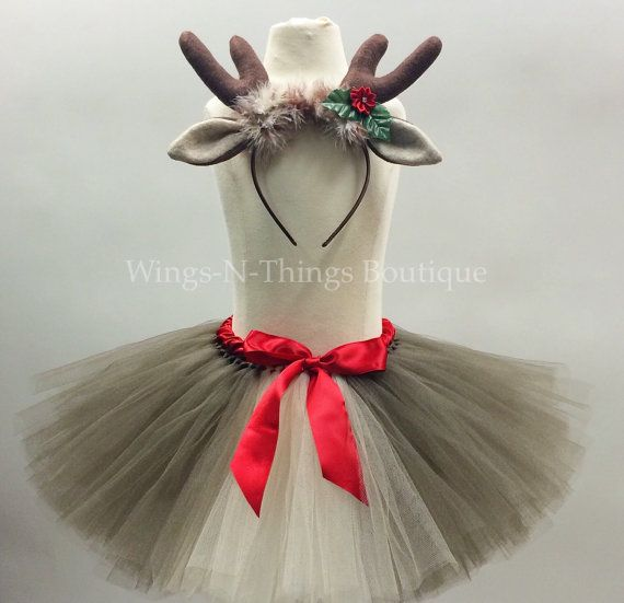 Check out ADULT REINDEER Tutu Skirt Set w/ Antler Headbeand, Women's Christmas Costume, Photo Prop, Rudolph, Deer, Holiday Party, Teen, Adult, Woman on wingsnthings13