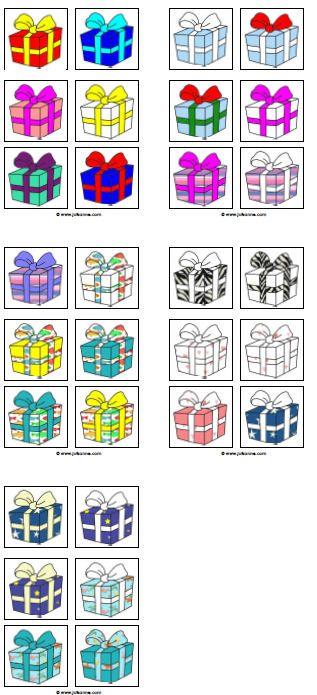 * Cadeautjesspel! Druk de plaatjes af  plastificeren. Dit spel is mogelijk voor een klas tot 30 ll. De juf geeft aanwijzingen: Jeroen, jouw pakje heeft rood in het papier. Daardoor vallen veel pakjes af maar Jeroen zal nog meer moeten vragen aan zijn juf om erachter te komen welk pakje van hem is …