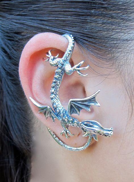 Silver Dragon Sentry Ear Wrap by martymagic on Etsy, $159.00