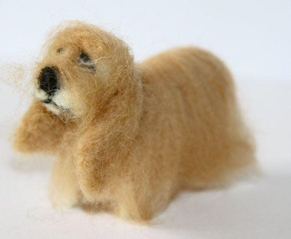 sweet Dog needle felted miniature small animal by nutkaart on Etsy