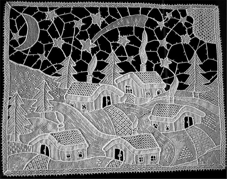 """This whitework piece is the creation of the talented needle lace artist Ombretta Panese. Ombretta calls this """"Winter Landscape"""" and it features cutwork with many, many types of needlelace fillings. Breathtaking, isn't it?  See more of Ombretta's work on her blog at http://www.ombrettapanese.it/"""