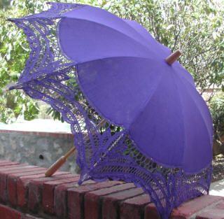 """Virginia"" Battenburg Lace Cotton Parasol $37.99 I'm loving the purple! <3"