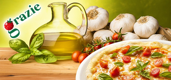 -56%  Любые блюда в ресторане Grazie на сумму 150, 300 или 450 грн. Пицца, салаты, паста, карпаччо, итальянские десерты!