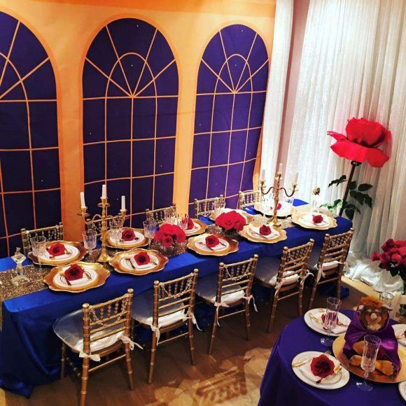 How amazing are the table settings at this Beauty and the Beast birthday party! See more party ideas and share yours at CatchMyParty.com