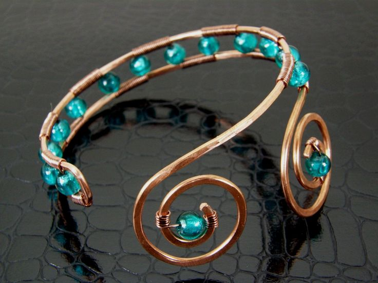 Womens Copper Upper Arm Cuff Bracelet Teal Hand Crafted via Etsy.