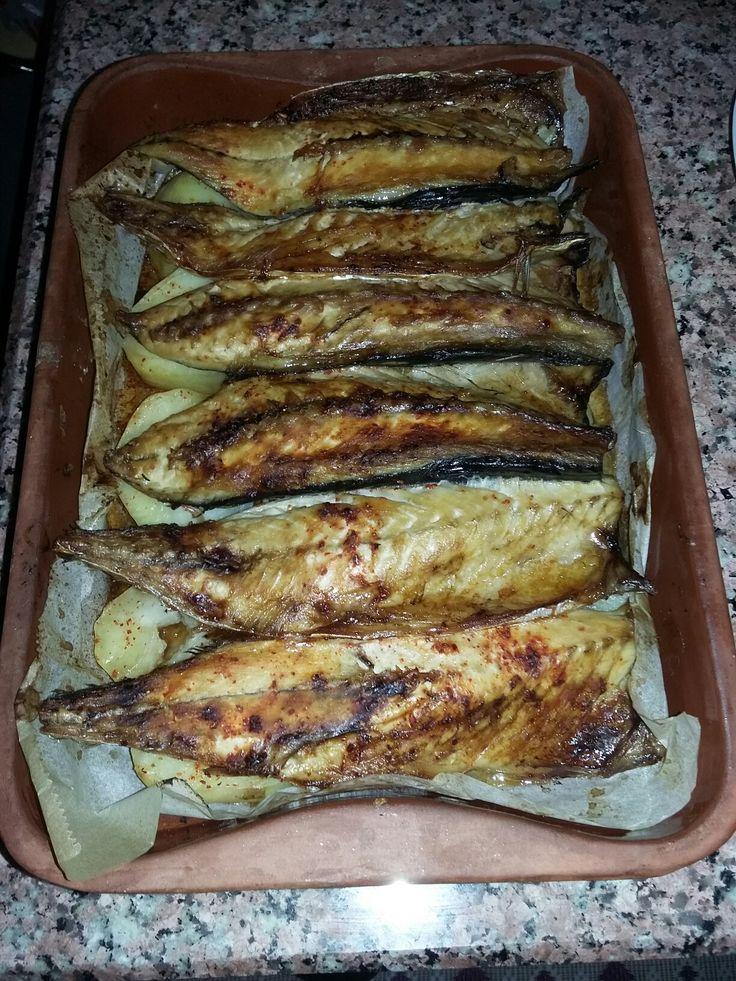 Fırında patatesli uskumru (sade tuz,pul biber.)