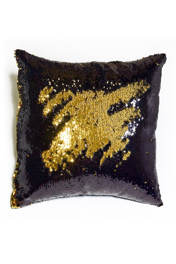 Black & Shiny Gold Sequin Mermaid Pillow - Mermaid Pillow Co