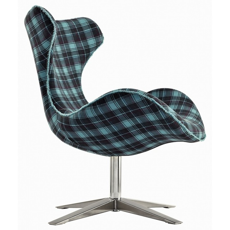 Awesome Contemporary Vintage Blue Design Chair With Squared Denim Fabric