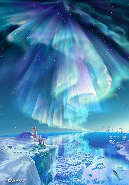 infinity kayaga art northern lights ice queen ocean whale canada