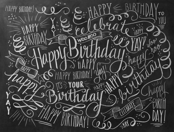 Birthday Wrapping Paper Birthday Gift Wrap Chalk by LilyandVal