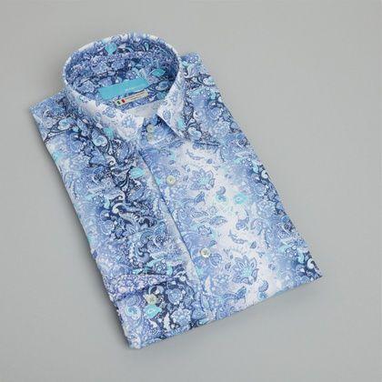 BRITISH INDIGO Alle producten Overhemden Met Motief OVERHEMD MET BLOEMENMOTIEF - BLAUW/WIT