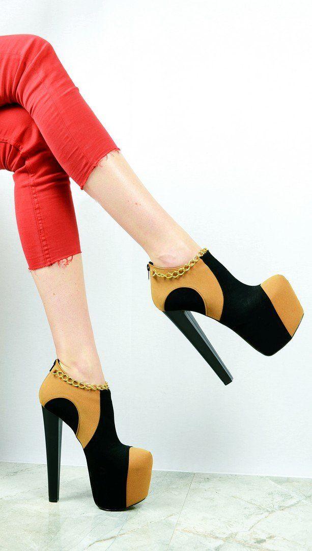 55eeb9cca68 Camel Black Chain Ankle Platform Heels – Tajna Club Stiletto Heels
