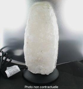 """Lampe en cristal de roche  """" Socle plastique noir"""""""