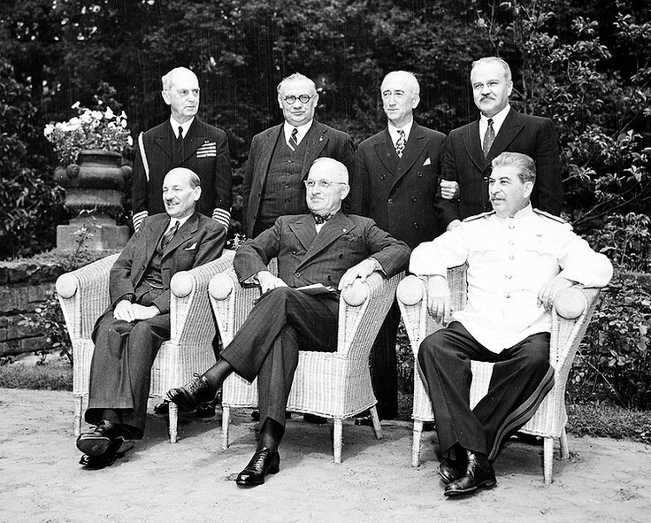 Potsdam Conference-Cecilienhof Palace: Clement Attlee, Harry S. Truman, Josef Stalin. William Leahy, Ernest Bevin, James Byrnes, and Vyacheslav Molotov. 1945