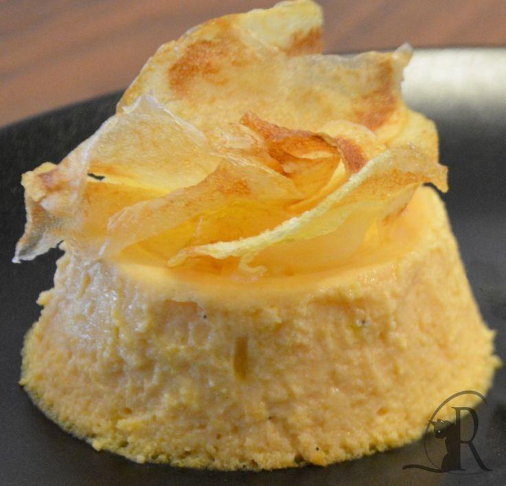 Flan di zucca con chips di patate