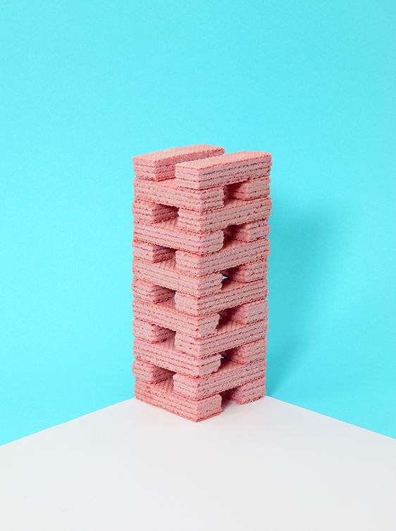art direction | pink wafer tower food styling still life photography - VANESSA MCKEOWN