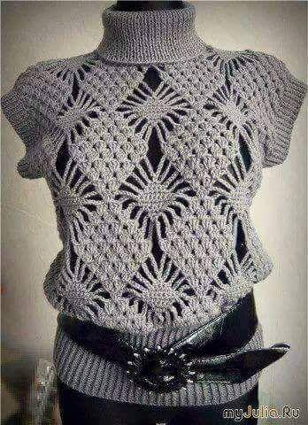 Patrón #1254: Blusa a Ganchillo | CTejidas [Crochet y Dos Agujas]