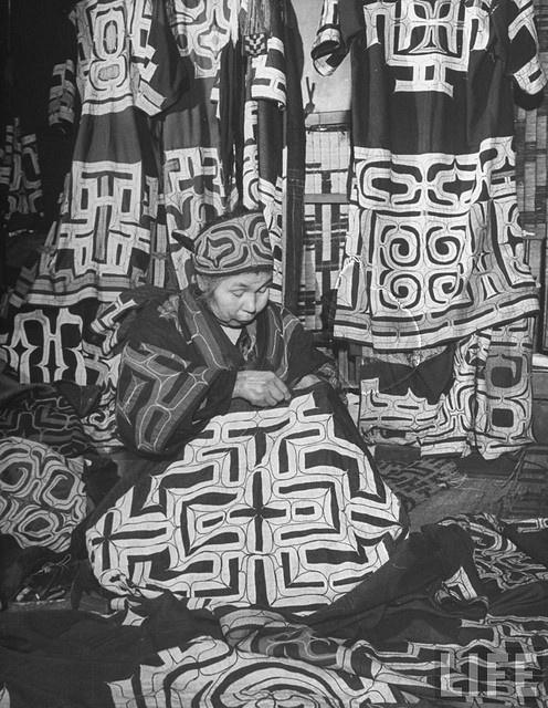 ainu women making ainu gowns