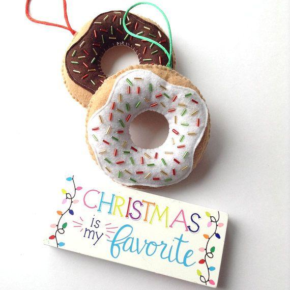 Donuts Ornaments Christmas Decor Ornaments Christmas Etsy Ornament Decor Donut Ornament Christmas Donuts