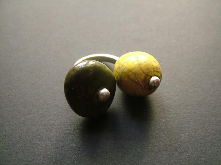 raku ceramic and terling silver ring