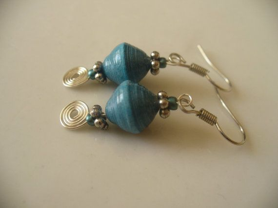 Blue Paper Bead Earrings with Blue Glass Seed Beads by PaperGemma, $7.99