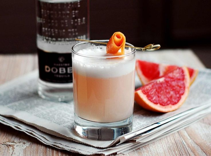 Paloma Sour--a lovely and sophisticated grapefruit sour featuring Maestro Dobel tequila. | 10thkitchen.com