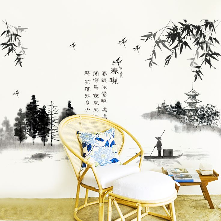 [SHIJUEHEZI] Black Color Chinese Painting Wall Stickers Interior Design Wall  Decals For Living Room