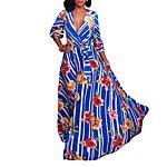 Kadın Günlük/Sade Sade Çin Stili Salaş Elbise Solid,Uzun Kollu V Yaka Maksi Pamuklu Polyester Sonbahar Normal Bel Esnemez İnce 2017 - $15.99